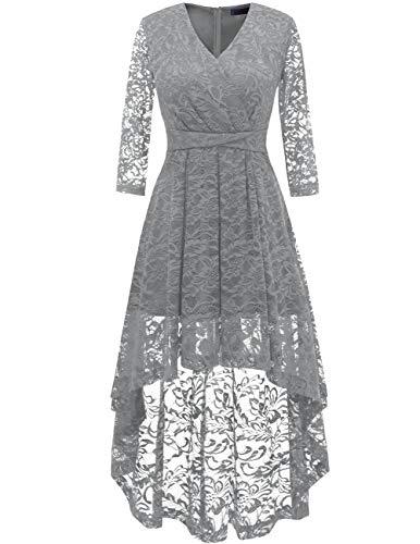 DRESSTELLS Damen elegant Hi-Lo Spitzenkleid Festliches Brautjungfernkleid Hochzeitskleid V-Ausschnitt Ballkleider Grey S