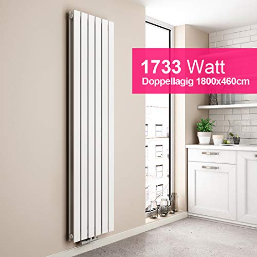 EMKE Vertikal Heizkörper Design Paneelheizkörper 1800x460mm Weiß flach Doppellagig Mittelanschluss Heizung, 1733W