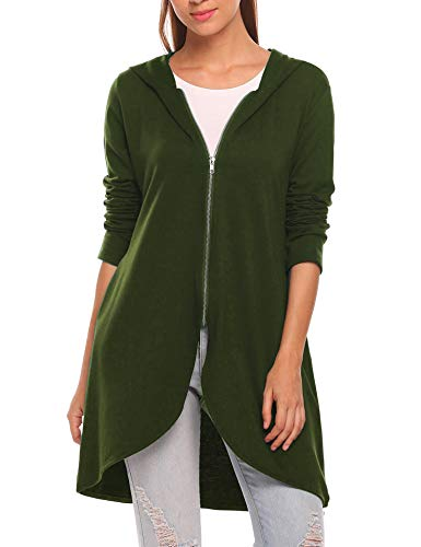 Zeagoo Women's Long Zip Up Hoodie Light Oversized Thin Tunic Hooded Sweatshirt Jacket with Pockets (XXX-Large, Army Green)