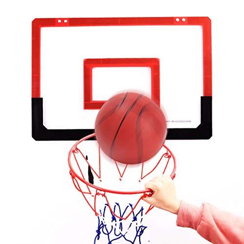 Nostalgie Set de Aro de Baloncesto Interior para Niños 18x11 Pulgadas de Asador de Baloncesto con Bolas y Accesorios de Baloncesto Completo Resistente a la Rotura (Color : Red)