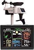 Estación meteorológica inalámbrica Sainlogic con sensor para exteriores, estación meteorológica 8 en 1 con pronóstico del tiempo, temperatura, presión del aire, humedad, anemómetro, pluviómetro
