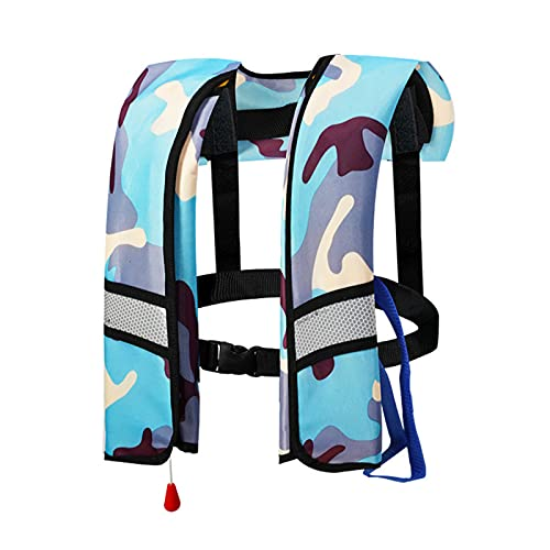 Backboards Chalecos De Pesca,Moda Camuflaje Bolsillos Chalecos,Impermeable Oxford Cloth Inflado Automático Chaqueta,Kayak Táctica Viajes Caza Abrig,Sky Blue Reflective,Manual