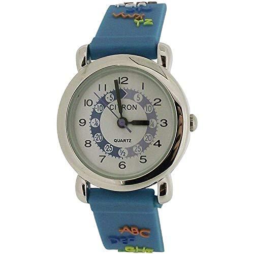Citron Armbanduhr für Jungen, analog und pädagogisch, blaues Silikonarmband