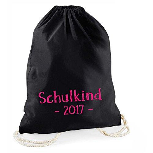 Schwarzer Statement-Turnbeutel Schulkind 2017, zum Schulanfang, Geschenkidee für Jungs & Mädchen, für Kindergarten