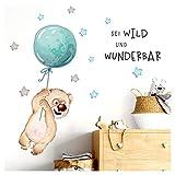 Little Deco Sticker Spruch sei wild & Teddybär I Wandbild S - 75 x 35 cm (BxH) I Luftballon Wandtattoo Kinderzimmer Junge Tiere Wandbilder Deko Babyzimmer Kinder DL329
