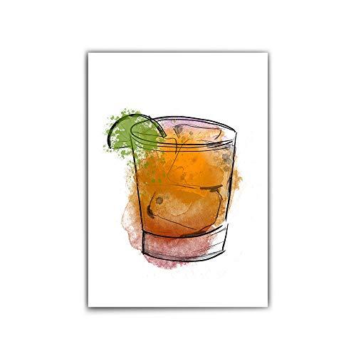 Poster din a4 – Gin Poster – Cocktail Bild - Illustration - Poster Küche/Wohnzimmer/Flur - Farbenfrohes Motiv - Bar - Poster Drink - ohne Bilderrahmen