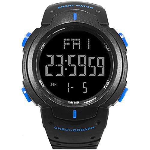 WNGJ Reloj de Hombre Deportivo Negro 48mm Reloj Digital 50m Impermeable Grande Dual dial multifunción analógico Militar Deportes al Aire Libre Reloj electrónico (Negro) Blue