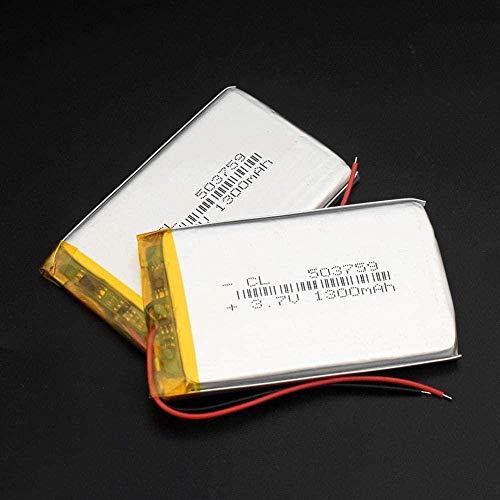503759 3.7V 1300mAh Batería Lipo Reemplazo Li-Ion Lipo Cells Litio Li-Po Polímero para Altavoz Bluetooth GPS PDA Cámara POS-503759 1300mah 2 Piezas