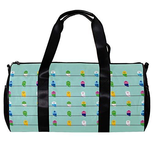 Bolsa de deporte redonda con correa de hombro desmontable, diseño de periquitos, bolso de entrenamiento para mujeres y hombres