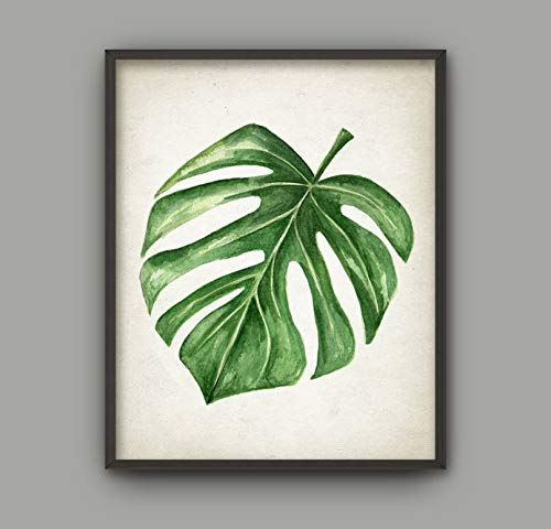 Rac76yd Tropisch Groen Blad Aquarel Art Print Monstera Zwitserse Kaas Plant Aquarel Poster Tropische Bladeren Decor Green Room Decor