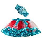 Ropa Infantil Moda 2-11 años Niño Infantil BEBÉ Chica Falda Arco Iris Tutu Fiesta Baile Ballet Mini Vestido Falda Princesa + Conjunto de Bandas para el Cabello 2 Piezas (Azul Claro, M 4-7 años)