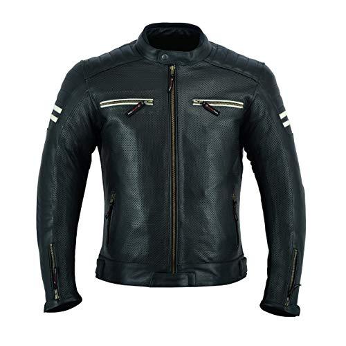 LJ-3027A Chaqueta de moto de cuero para hombre con armadura, transpirable y con...