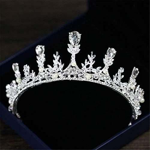 KEEBON Tiaras para Las Mujeres, Crown Bridal Hairband Crystal Rhinestone Pearl Flowand Diadema Boda Prom Crown Tocado, Color: Plata Pulseras Pendientes Anillos Collares (Color : Silver)