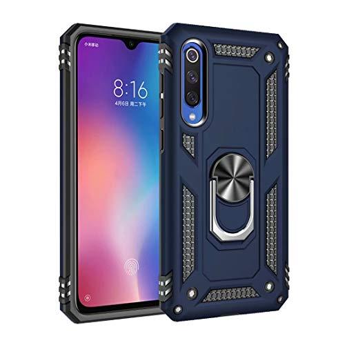 TiHen Custodia Xiaomi Mi 9se, Cover 360° Girevole Ring Armor Bumper TPU Case Magnetica Supporto Smartphone Silicone Custodie con Pellicola Protettiva per Xiaomi Mi 9se,Blu