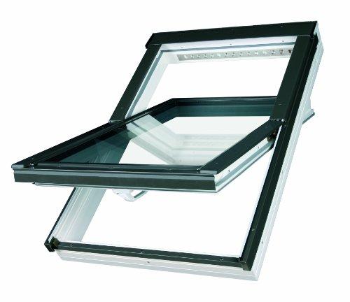 Dachfenster Fakro Schwingfenster 55x98cm Kunststoff mit Dauerlüftung V35 Standardverglasung U3 mit Ziegeleindeckrahmen Thermoglas