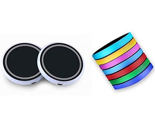 Posavasos de Coches 2pcs LED Cup Hoder Holder Coster Compatible con BMW M Logo Light para R1200GS E46 E46 E39 E60 E46 F30 F10 X5 E70 G30 E36 Accesorios 7 Colores Portavasos