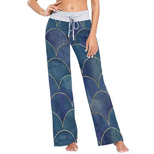 Azul Brillante Sirena Escamas diseño de patrón de impresión para Mujer Pijama Ropa de Dormir Suelta Palazzo Casual con cordón Pantalones de Yoga-M