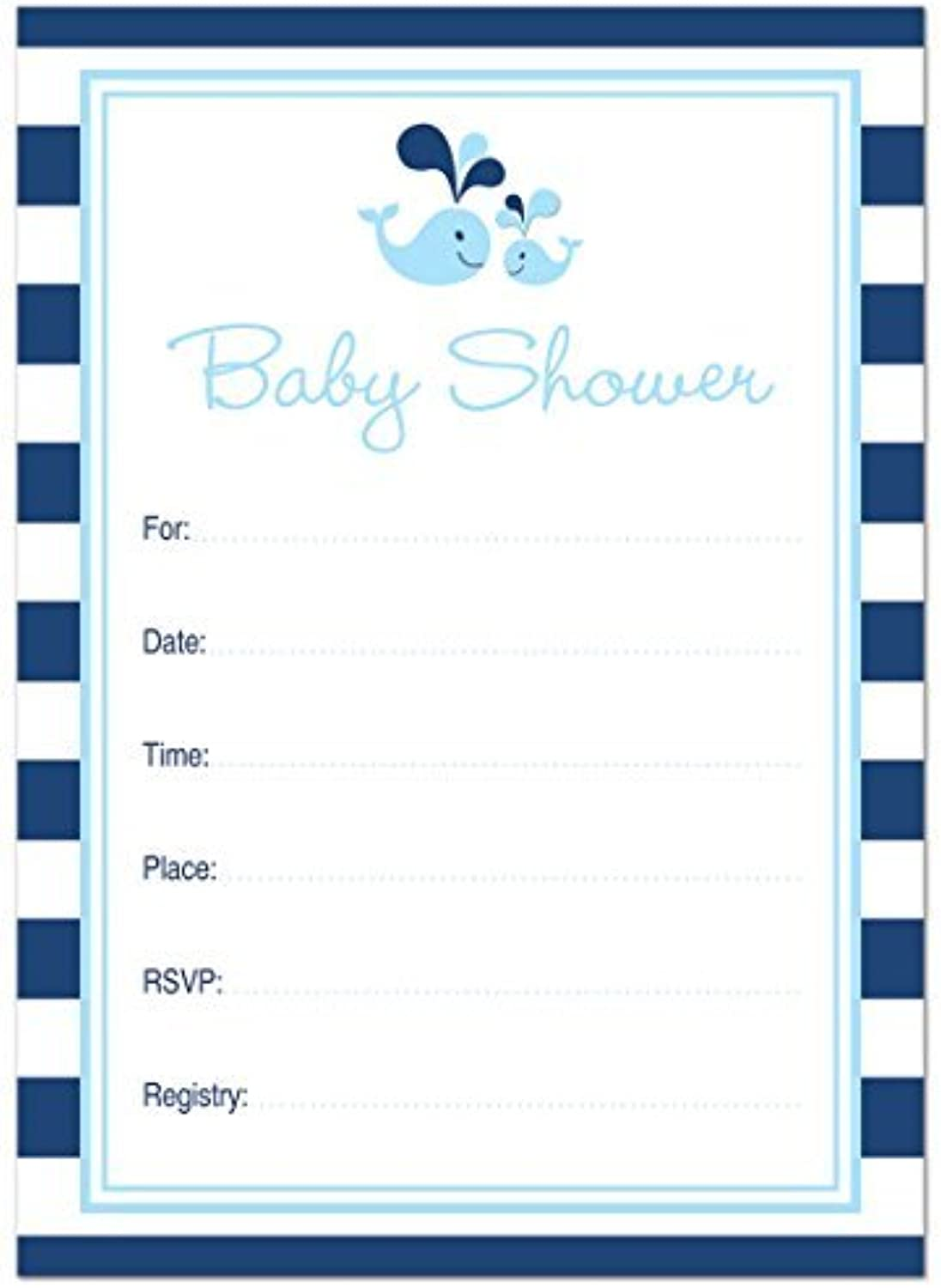 24 Cnt blueee Whale Splash Fillin Baby Shower Fillin Invitations by MyExpression