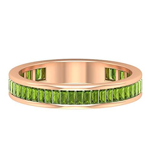 Único anillo de 1,00 quilates con forma de baguette certificado con piedra de nacimiento de agosto a juego, anillo de peridoto de eternidad grabado en oro macizo, 14K Oro rosa, Size:EU 69