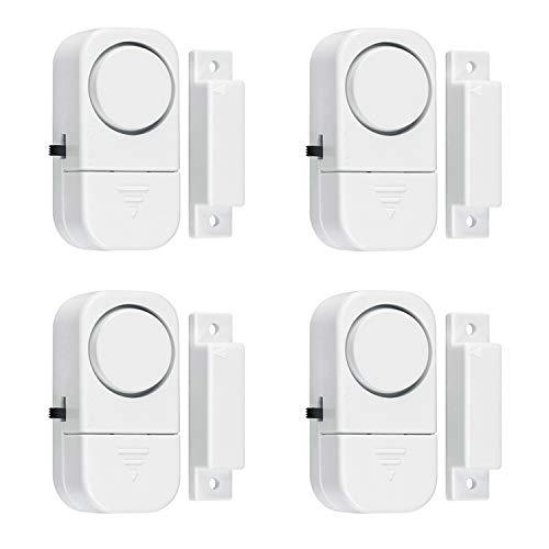 SELVA Mini-Fensteralarm – Geeignet auch für Türen, Vitrinen etc. – 4 STK. – Schreckt EINBRECHER wirkungsvoll ab – Alarm: 95 db(A) – Simple Befestigung