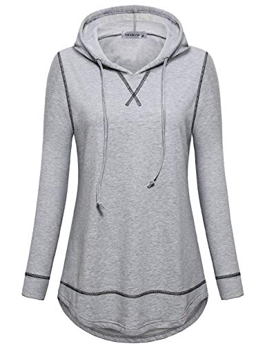 MOQIVGI Athleisure Tops for Women,Fall Winter Fashion Long Sleeve Activewear Workout Tunic Hooded Sweatshirts Moisture Wicking Athletic Training Clothes Grey Large