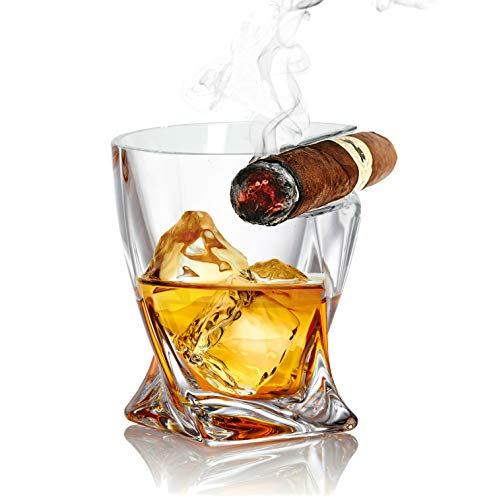 Bezrat Whiskey Glass -10 oz - Old Fashioned Twist Tumbler With Top Mounted Holder Rest - Whiskey Glasses Gift