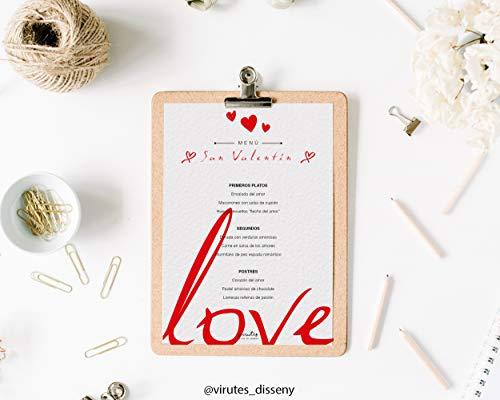 Plantilla Menú San Valentín // Descarga el archivo digital y imprime tu menú de San Valentín // Tamaño A4 // Incluye archivo word