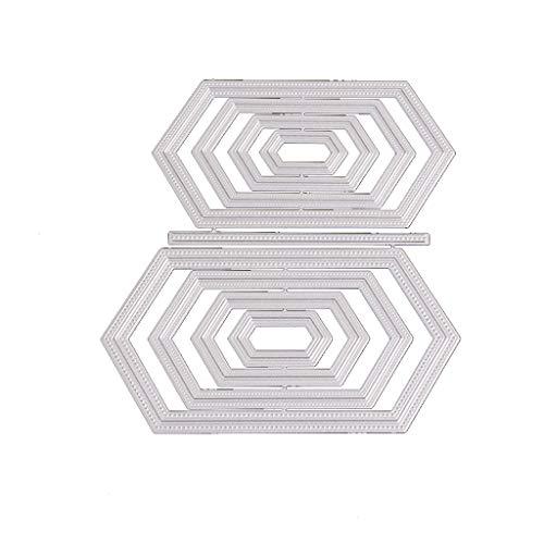Qintaiourty Stanzschablone, Weihnachten Sechseck Und Liebe Muster Metall Stanzformen DIY Scrapbooking Papier Stempel Prä
