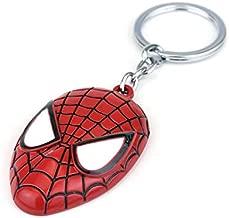 Spiderman Helmet Mask Alloy Metal Keyring Keys Holder Casual Key Ring Keychain for Unisex Men Women Red