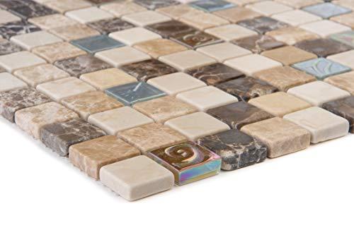 Mosaico combinado de azulejos beige, para pared, suelo, ducha, baño, cocina, 1 alfombrilla | ES-52615_b