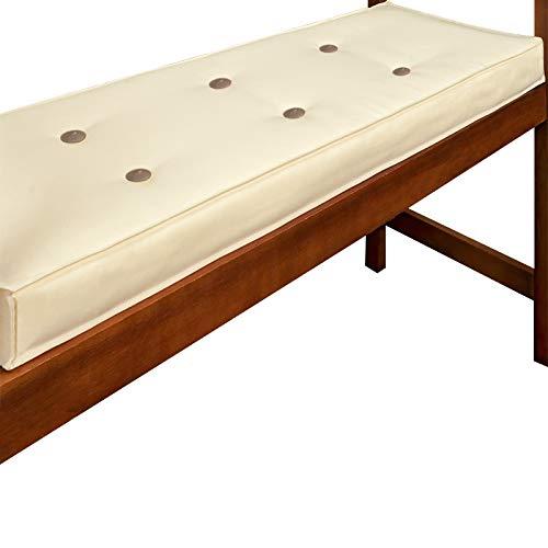 Detex Bankauflage Wasserabweisend 5-Lagig 110cm Sitzkissen Sitzauflage Sitzpolster Bankpolster Auflage Creme