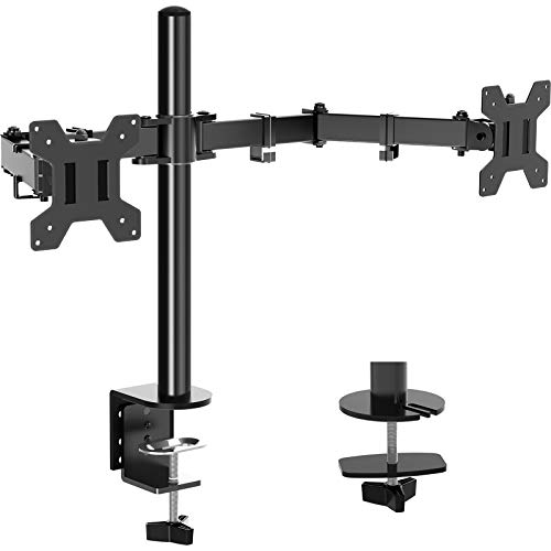 Dual Monitor Stand Mount, Height Adjustable LCD Monitor Desk Mount, Articulating Full Motion Tilt Swivel Monitor Arm - Fits 13' to 27'Screens.