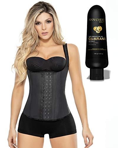 Ann Chery Vest Latex 2027 with Guarana Slimming Gel. Waist Trainer Girdle Faja Colombiana. Waist Cincher (S) Black