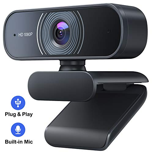 Crosstour Webcam, Webcam PC con Microfono, Webcam per PC 1080P USB 2.0 Plug & Play Webcam per Stream e Videocamera, Lezioni/Lavoro Online, Conferenze,
