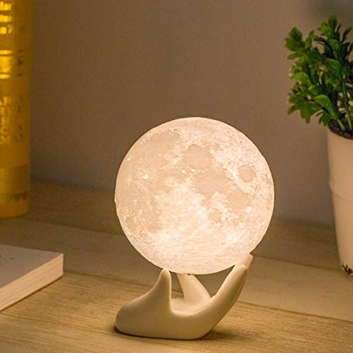 Moon Lamp, Balkwan 3.5 inches 3D printing Moon Light uses Dimmable and Touch Control Design,Romantic Funny Birthday Gifts for Women ,Men,Kids,Child and Baby. Rustic Home Decor Rechargeable Night Light