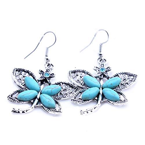 YAZILIND vintage estilo étnico turquesa mariposa colgante gota pendientes bohemio anzuelo colgante colgante mujeres joyería fiesta