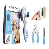 KAIYZP Spazzola per cani e gatti a pelo lungo, spazzola per la rimozione dei peli con 1 cl...