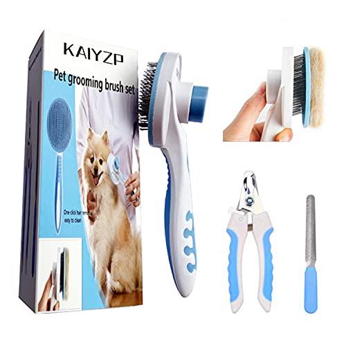 KAIYZP Langhaarige Katzen- und Hundebürste, 1-Klick-Saubere Haarentfernungsbürste, Pflegerechen Entfernt effektiv 90% der abgestorbenen Haare (Nagelknipser anbringen)
