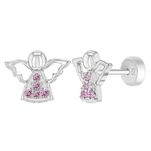In Season Jewelry Orecchini in argento Sterling 925 con angelo custode e sicurezza religiosa per ragazze