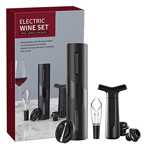 Kit removedor de corcho motorizado, abridor de botellas de vino eléctrico, incluye cortador de aluminio, tapones de bomba de vacío de vino, vino del aireador de vino