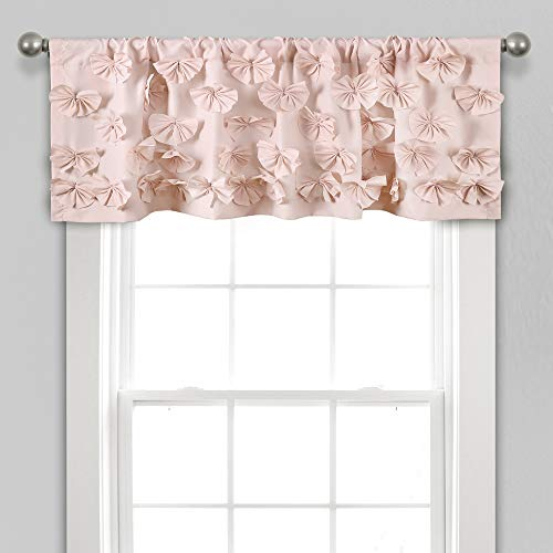 "Lush Decor, Blush Riley Valance Textured Bow Tie Window Kitchen Curtain (Single), 18"" x 52 L"
