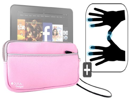 """DURAGADGET Housse étui résistant en néoprène Rose + Gants capacitifs conducteurs Taille M (Moyen) pour Nouvelle Tablette Kindle Fire 7"""" et Fire HD d'A"""