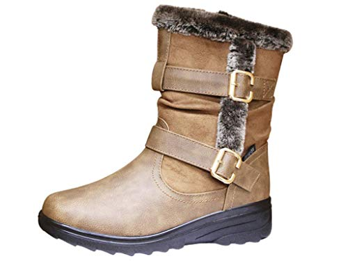 Cushion Walk Ladies Leather Look Faux Fur Trim Flat Warm Mid Calf Length Boots Size 3-8 (Tan Double Buckle, 4)