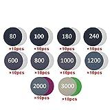 100pcs / Set Papel de lija redondo Papel de lija Rectificado en seco/húmedo Herramienta de pulido para automóvil 125MM para rectificado en seco y húmedo, Papel de lija