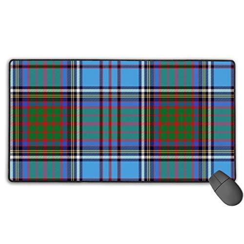 Gaming Mouse Pad Large (15,7 x 29,5 x 0,1 Zoll) Home Office Scottish Tartan Plaid Blue Mouse Matte rutschfestes Schreibtischpad mit Anti-Fray-Kanten für Tastatur-Laptops
