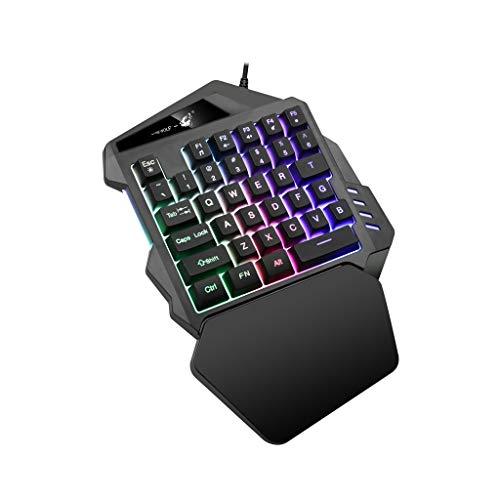 LXH-SH Keyboard Spielen Gaming-Tastatur Gaming Schwarz K13 Wired 35 Schlüssel-LED Hintergrundbeleuchtung USB Ergonomische Einhand-Tastatur Gaming Keyboards (Color : Black)