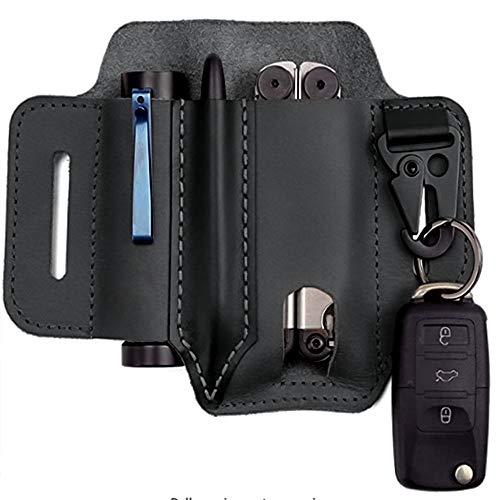 XKiss Multitool Leather Sheath Pocket, EDC Leather Sheath, 3 Pockets Organizer Sheath, Belt Sheath With Key/Pen/Flashlight Sheath, Multitool Sheath for Belt, EDC Leather Pouch