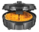 Chefman Anti-Overflow Belgian Waffle Maker w/Shade Selector, Temperature Control Mess Free Moat, Round Iron w/Nonstick Plates & Cool Touch Handle, Measuring Cup Included, Grey