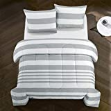 Casa Harleigh All Season Easy-Wash Alternative Reversible Rugby Stripe Ultra-Soft Lightweight Microfiber Comforter Set, Twin, Grey
