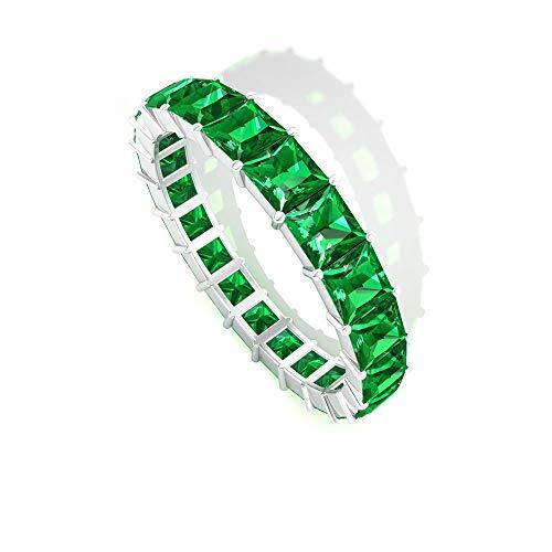 Rosec Jewels 14 quilates oro blanco talla princesa Green Esmeralda creada en laboratorio.
